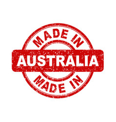 made in australia red stamp on white background vector image