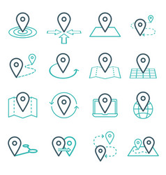 map pins related icon set symbols vector image