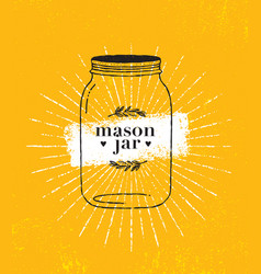 mason jar organic on rough paper vector image