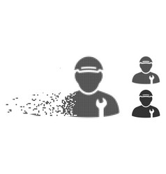 Mechanic disappearing pixel halftone icon vector