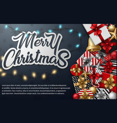 merry christmas typographical different gift box vector image