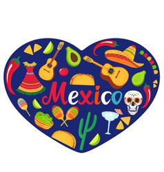 mexico banner sombrero guitar sugar skull vector image