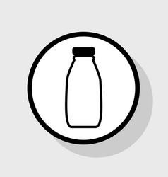 Milk bottle sign flat black icon in white vector