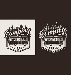 Monochrome camping print vector