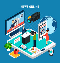 news room online composition vector image