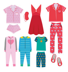 Pajamas textile night clothes for kids and vector