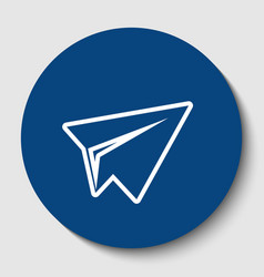Paper airplane sign white contour icon in vector