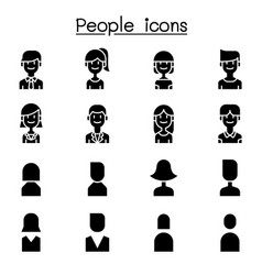 people user icon set in flat style vector image