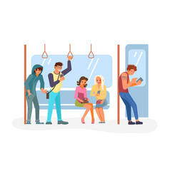 Pickpocket in public transport vector