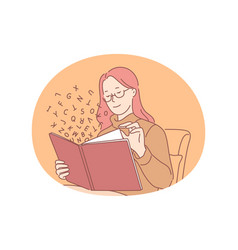 Reading book concept vector