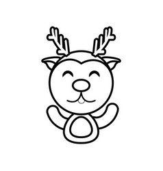 reindeer animal toy outline vector image