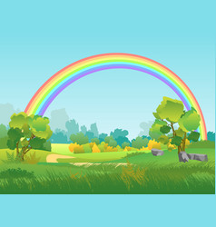 Rural landscape with rainbow summertime vector