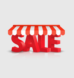sales text store striped awning 3d art vector image