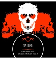 Scary Skulls Invitation or Postcard for Halloween vector
