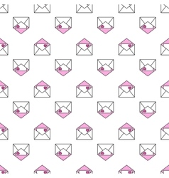 Seamless pattern of envelopes with hearts love vector image