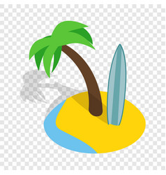 Seascape with palm trees and surfboard isometric vector