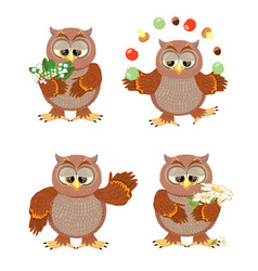 Set brown owls with flowers on a white background vector