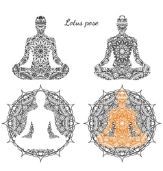 Set of lotus pose with ornament vector image