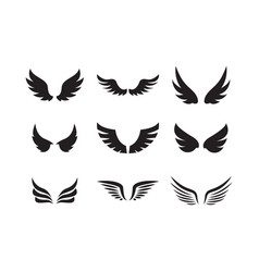 Set wing icon design template vector