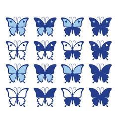 shapes beautiful butterflies vector image
