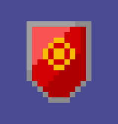 Shield with emblem icon pixel style defensive vector