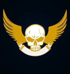 Skull with emblem and wings vector