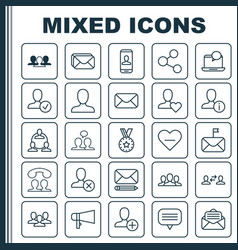 Social icons set collection of favorite person vector