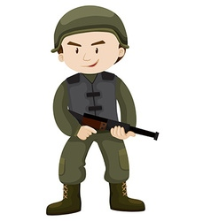 Soldier with helmet and gun vector image