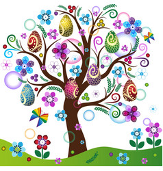 Spring tree with colorful easter eggs flowers vector