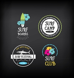 Surf vintage elements Retro logo board Hawaii vector image