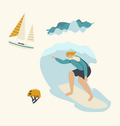 Surfing recreation in ocean young woman surfer vector