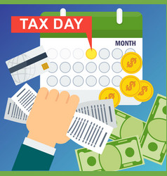 tax day concept man holds accounts in his hand vector image