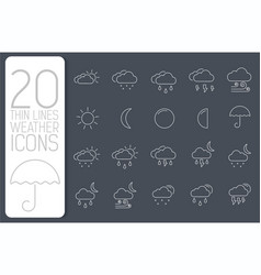 thin line weather set icons concept vector image