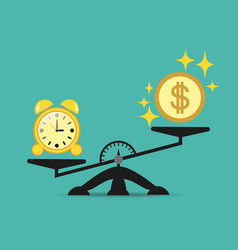time and money on the scales time is expensive vector image