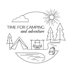 Time for Camping and Adventure Camping and forest vector