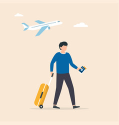 traveler walking through airport with a wheel vector image