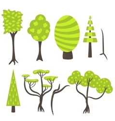 Tree clip art nature set vector