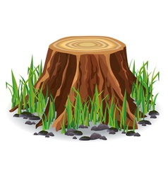 Tree stump with green grass vector