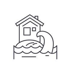 tsunami line icon concept tsunami linear vector image
