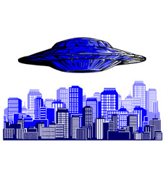 ufo alien flying with lights vector image