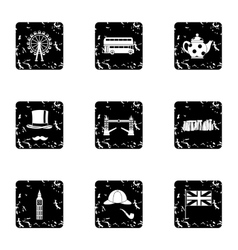 United Kingdom icons set grunge style vector