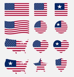 Usa flag symbols set united states of america vector