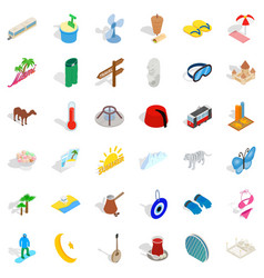 Vacation icons set isometric style vector