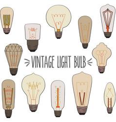 vintage light bulb colored vector image