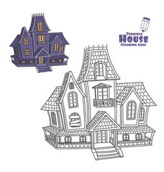 witch house color and outlined for coloring page vector image