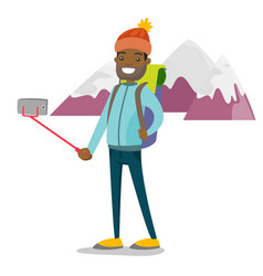 young african-american traveler man making selfie vector image