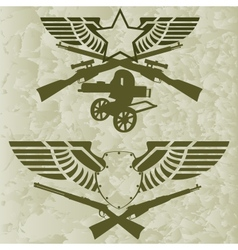 Badges with wings and firearms vector