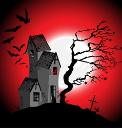 Halloween background with the scary house vector image