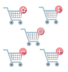 flat basket icon set vector image