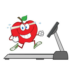 healthy red apple cartoon character running vector image